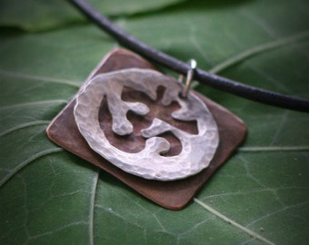 Silver And Copper OM Pendant Necklace