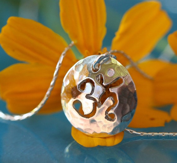 Sterling Om Pendant Necklace 1/2 inch