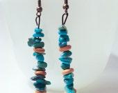 MODERN TRIBAL BOHO: Genuine Turquoise Dangle Earrings.