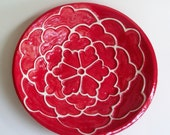 Large Serving Bowl with Carved Design Red White