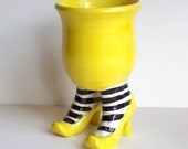 Sex Pot with Heels and Striped Stockings Yellow Black White