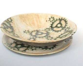 Handmade Ceramic Serving Bowl and Platter Set with Gears