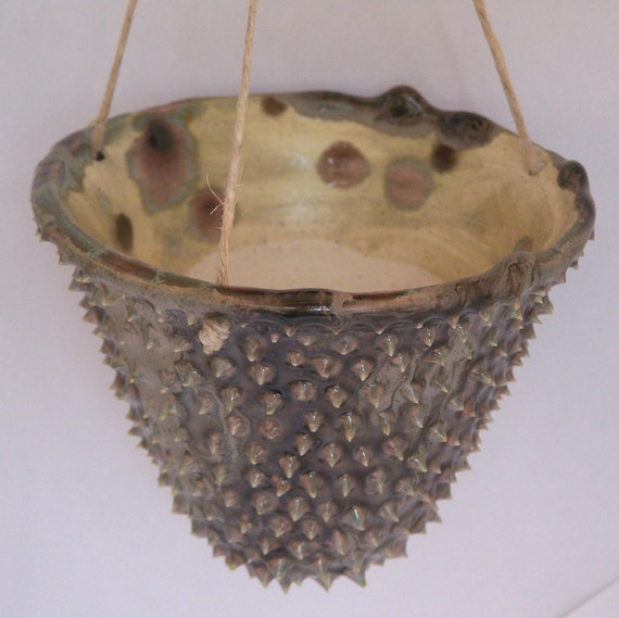 Wheelthrown Hanging Planter with Spikes Gray Lavender Turquoise