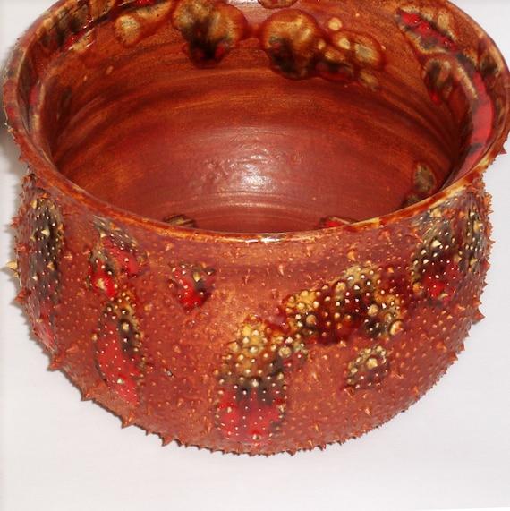 Wheelthrown Bonsai Pot with Spikes Red Orange Yellow