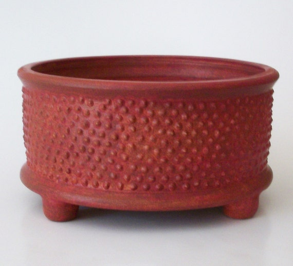 Medium Rusty Red Dish With Bumps
