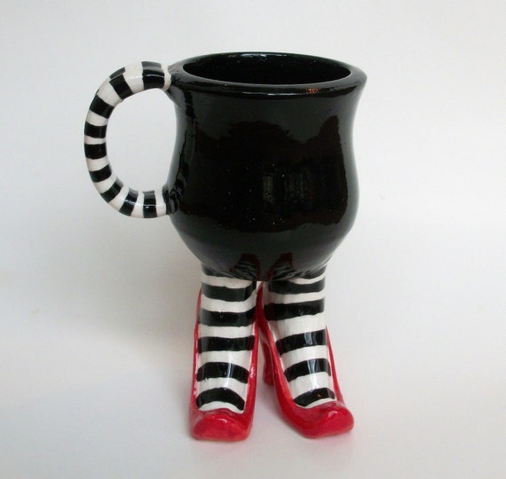 Sex Pot Mug with Striped Stockings and Heels - Made to order