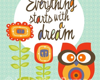 Everything starts with a dream- Inspirational art for kids