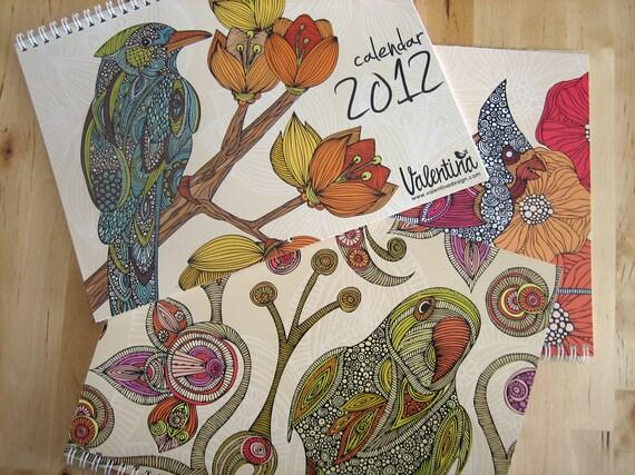 The Birds 2012 calendar wall calendar - 12 drawings