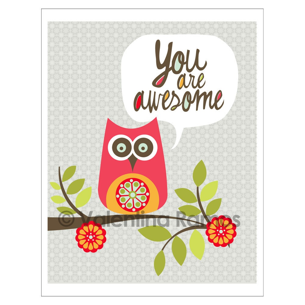 You Are Awesome: You Are Awesome Inspirational Art For Kids By Valentinadesign