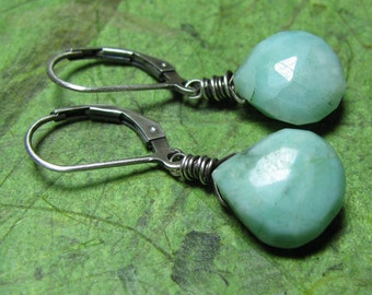 Sky Poetry - African Turquoise and Sterling Silver Earrings
