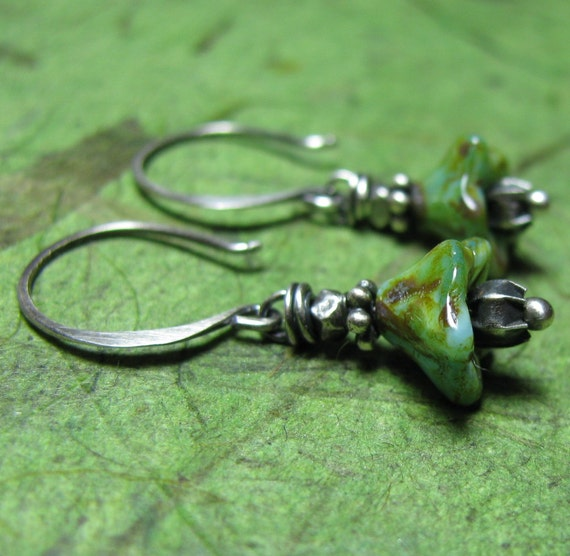 Sweet Little Buds - Picasso Czech Glass and Sterling Silver Earrings