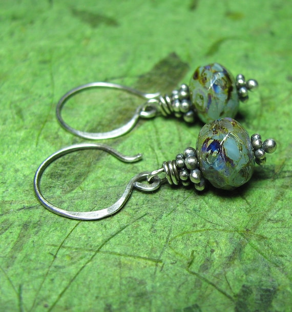 Ocean Blue - Picasso Czech Glass and Sterling Silver Earrings