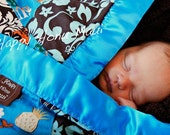 CUSTOM SMALL 24 x 32 Hawaiian print PATCHWORK receiving blanket with a scrumptious plush back and satin ribbon made with aloha on Maui