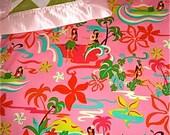LARGE Hawaiian Hula print PINK blankie 30 x 36 with a gorgeous satin ribbon and soft minky back made with aloha on Maui