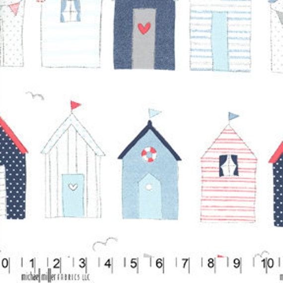 3 yards Michael Miller designer Fabric My Place or Yours Beach Houses
