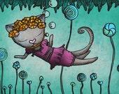 Cat Art - Lollipop Sea - 6 x 4 Giclee Fine Art Mini Print - by Ella Goodwin