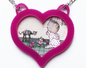 CAT NECKLACE - heart cameo -SALE- Pink Acrylic - Valentines Gift sweetheart - heart jewely - Star wars at-at Cat-at