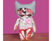 Cat plush toy softie, Freya the cat  (comes with free pattern so you can make Freya a playmate)