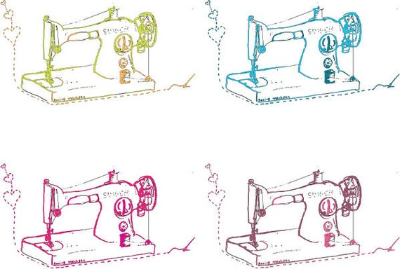 Sewing Machine Wrapping Paper - Gift Wrap and 2 Gift Cards - 2 sheets