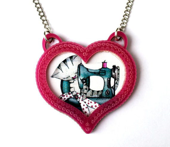 Cat Necklace heart cameo - Pink Acrylic - Valentines Gift sweetheart - heart jewely