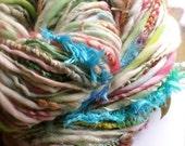 RESERVED 2 skeins aurora - handspun handpainted artyarn gypsy novelty yarn by pancake and lulu