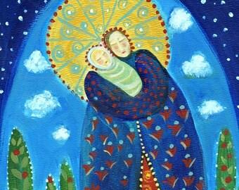 Mary's World primitive religious folk art archival giclée print by Pennsylvania folk artist Rose Walton blessed mother holy virgin