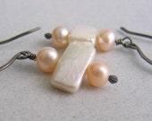Peach Pearl Earrings, White Pearl Earrings, Silver Earrings, Freshwater Pearls, Oxidized Silver, Sterling Silver, Silver Jewelry