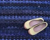 Rag Rug, Blue Corduroy Rug, Recycled Textile Rug, Handwoven Rug, Corduroy Pants Rug, Eco Friendly Rug
