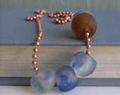 Copper Necklace, Recycled Glass, Glass Necklace, Copper Ball Chain, Clear Blue Glass, Amber Glass, Copper Jewelry