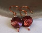 Brick Red Peach Pearl Copper Earrings