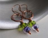Copper Earrings, Glass Earrings, Violet Plum Glass, Lime Glass Earrings, Copper Jewelry, Glass Jewelry, Beaded Earrings