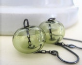 Blown Glass Earrings, Celery Sage, Silver Earrings, Hollow Glass, Oxidized Silver, Glass Jewelry, Silver Jewelry, Transparent Glass