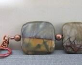 Jasper Bracelet, Red Creek Jasper, Gemstone Bracelet, Earthy Natural, Copper Jewelry, Rustic Bracelets, Square Jasper, Copper Bracelet