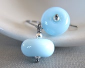 Glass Earrings, Pale Blue Glass, Silver Earrings, Lampwork Glass, Hematite, Oxidized Silver, Sterling Silver, Silver Jewelry