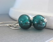 Blown Glass Earrings, Teal Green, Silver Earrings,  Hollow Glass, Silver Jewelry, Lampwork Glass, Sterling Silver, Glass Jewelry