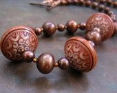 ON SALE  Chocolate Orange Pearl, Lucite and Copper Necklace