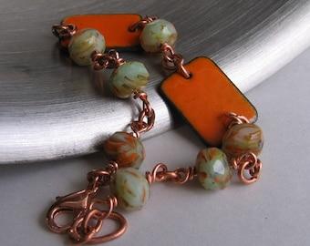 Copper Bracelet, Enameled Bracelet, Glass Bracelet, Orange Enamel, Green Glass, Copper Jewelry, Glass Jewelry, Copper Chain