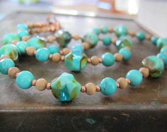 Turquoise Necklace, Beaded Necklace, Hand Made Necklace, Sandalwood Necklace, Turquoise, Seafoam Glass, Copper Necklace