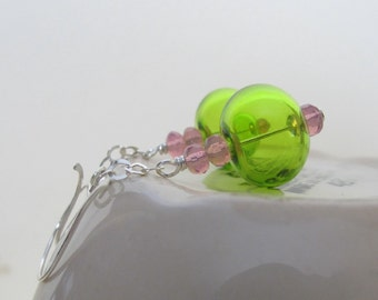 Hollow Glass, Glass Earrings, Silver Earrings, Lime Green, Pale Pink, Silver Jewelry, Silver Chain, Sterling Silver