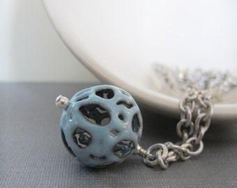 Enamel Necklace, Silver Necklace, Filigree Fog Enamel, Blue Grey, Robins Egg Blue, Silver Chain, Chain Necklace