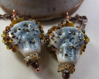 Skull Earrings, Crusty Pirate Skulls, Glass Skulls, Copper Earrings, Lampwork Glass, Ivory, Grey, Mustard, Copper Chain, Copper Jewelry