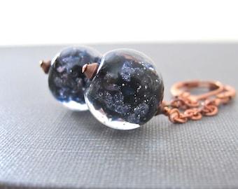 Glass Earrings, Copper Earrings, Black Earrings, Black Blue Glass, Sparkling Glass, Dangle Earrings, Copper Jewelry