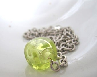 Clear Glass Necklace,  Lime Green Glass, Square Hollow Glass, Silver Necklace, Silver Chain, Silver Jewelry, Transparent Glass