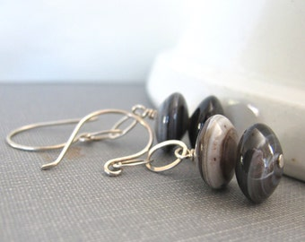Gemstone Earrings, Bullseye Agate, Silver Earrings, Brown Grey Earrings, Dangle Earrings, Sterling Silver, Gemstone Jewelry, Silver Jewelry