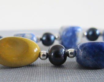 Sodalite Necklace, Denim Sodalite, Gemstone Necklace, Blue Necklace, Silver Jewelry, Sterling Silver, Moukaite Nuggets, Blue Pearl Necklace