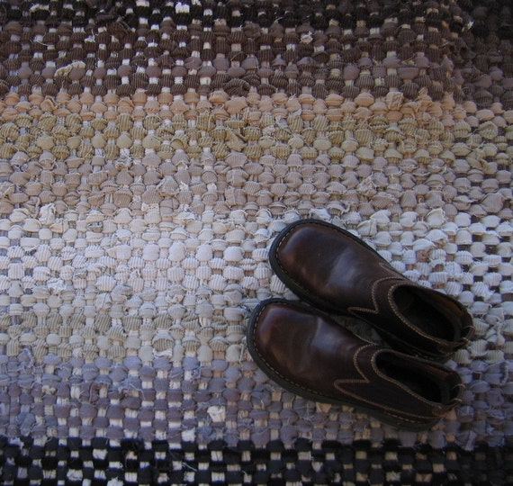 Corduroy Rag Rug, Handwoven Rug, Recycled Corduroy, Corduroy Pants, Eco Friendly Rug, Beige, Brown, Grey