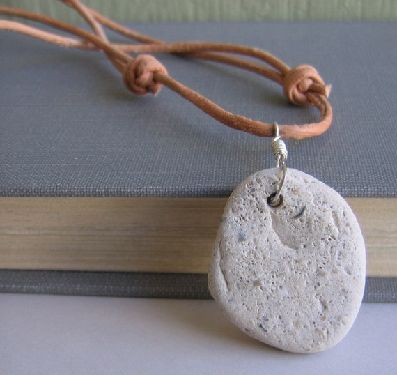 Pebble Necklace,  Lake Superior,  Beach Pebble, Leather Necklace, Off White Pebble, Natural Leather, Stone Jewelry, Sterling Silver
