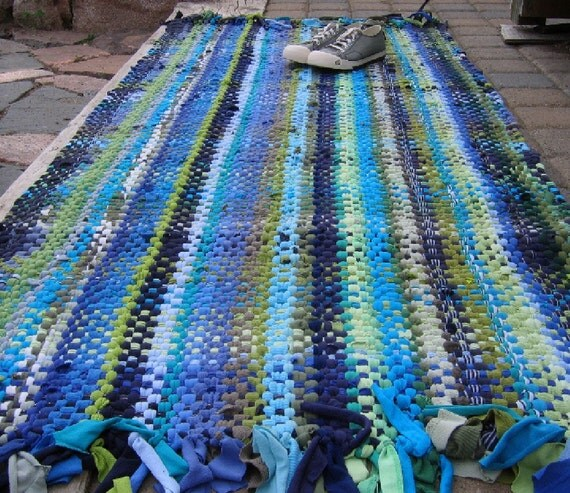 T Shirt Rug Rag Rug Handwoven Rag Rug Recycled By Fiveforty