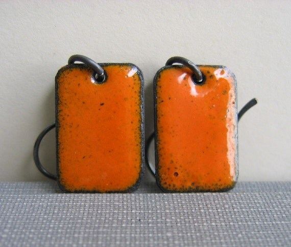 Orange Peel Copper and Silver Earrings