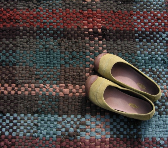 Handwoven Wool Rug, Recycled Wool Rug, Merino Wool Rag Rug, Recycled Sweater Rug, Plaid Rug, Green, Brown, Rust, Eco Friendly
